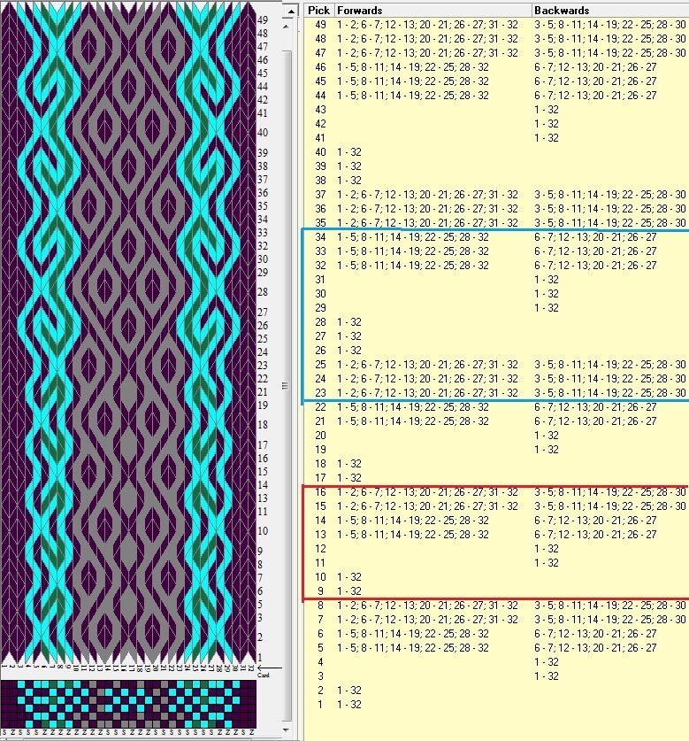 32 tarjetas hexagonales, 4 colores, 2 diseños repitiendo cada 8 y 12 movimientos // sed_504_c6_a diseñado en GTT༺❁