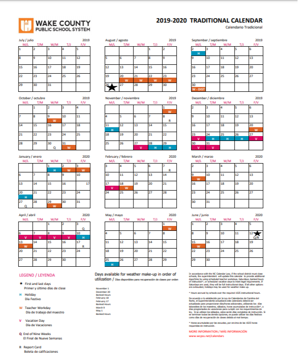 Wcpss Traditional Calendar 2021-2022 Photos