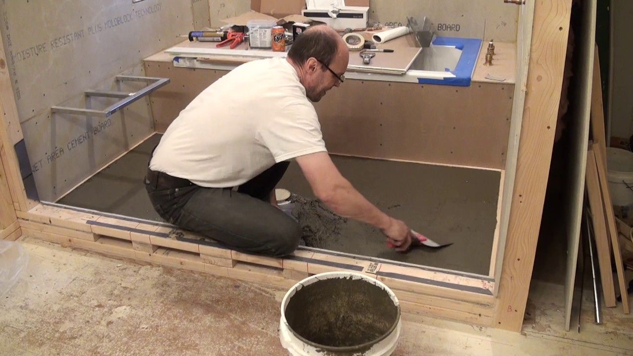 How To Mortar Shower Pan Hardiebacker On Plywood Floor Bathroom