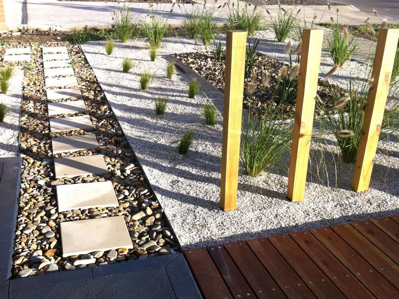 Pathway From House To Vegie Garden Steel Edging On Side With Large Pebbles And Concrete Blocks Flanked By Lawn Steel Edging Garden Lawn Edging