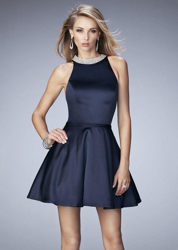 La Femme 22212 Magnificent Pearl & Jewel Collar Short Dress