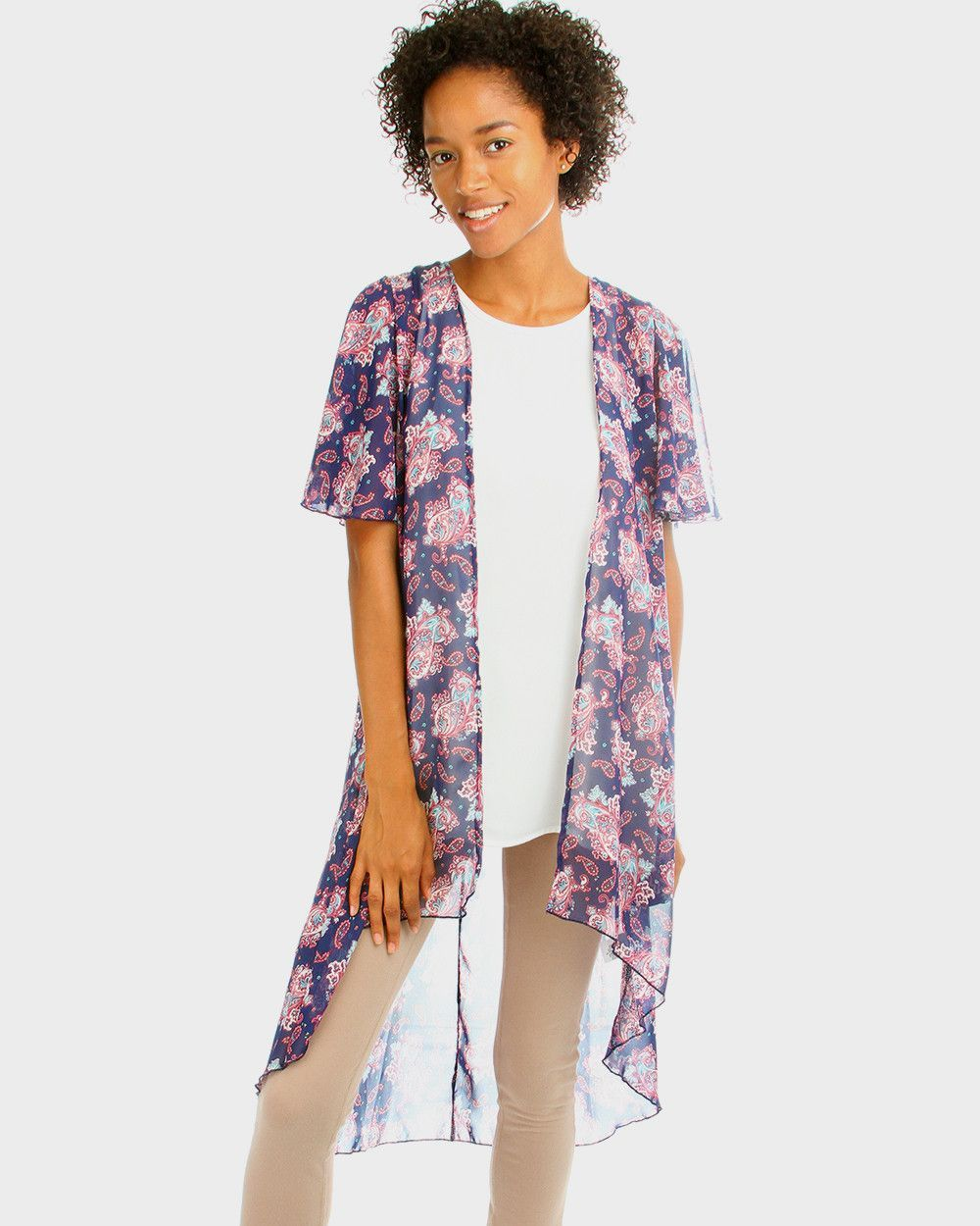 Pretty Paisley Long Kimono Cardigan In Navy | Spring and Summer ...