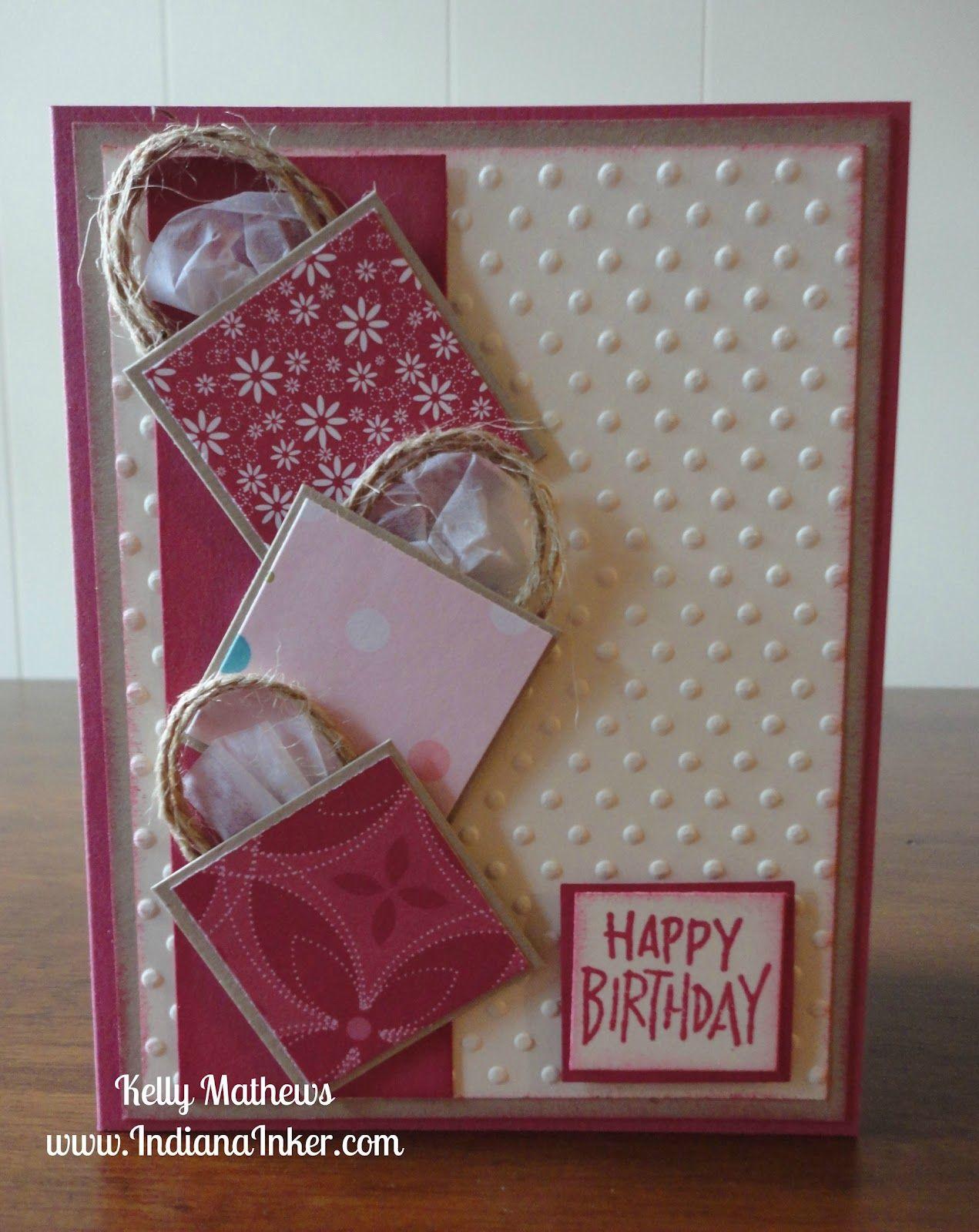 Shopping Bag Birthday Card Stampin Up Birthday Cards Embossed Cards Birthday Cards For Women