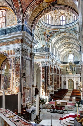 Monopoli Cathedral, Italy - interior marble details of the cathedral are very impressive. Great example of the Southern Italian Baroque style