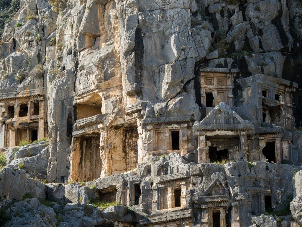Located to the southwest of Antalya along the Turkish Riviera the ancient Lycian ruins of Myra are highly unusual in appearance. The tombs are carved directl...