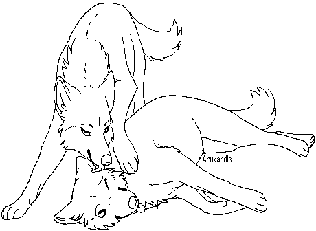 Free Wolf Couple Lineart 3 by Arukardis | Color it up | Cute ...