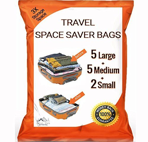 12 Pack Premium Travel Space Saver Bags No Vacuum Needed 5 Large 5