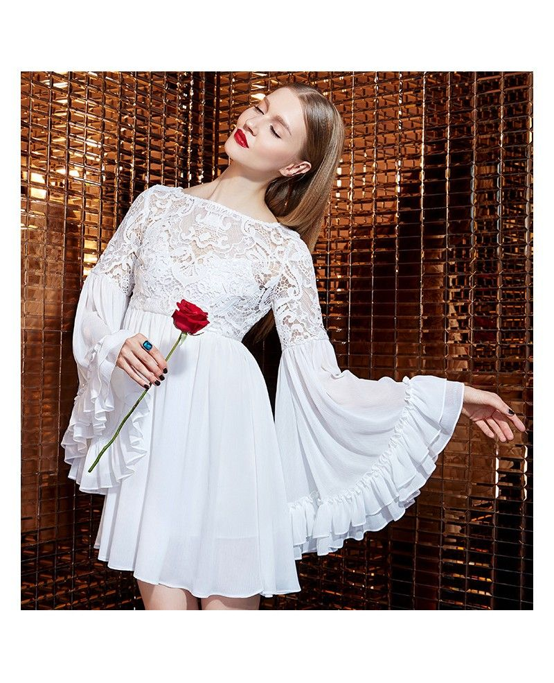 d919691f605f White Lace Chiffon Short Dress With Long Sleeves GemGrace | Artsy ...