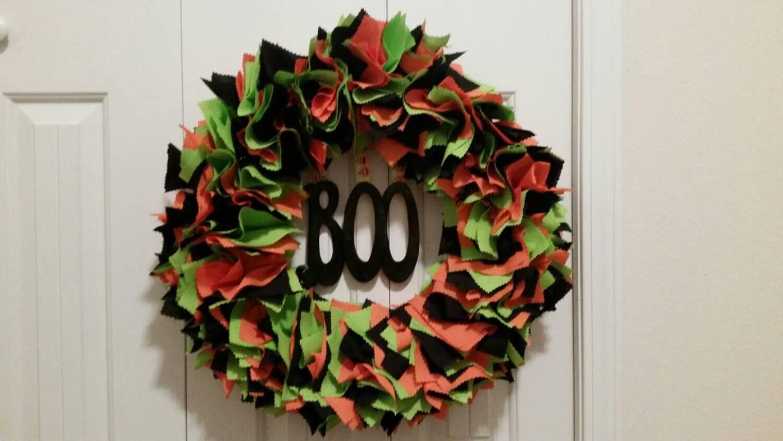 Halloween Wreath,  Boo Wreath,  Fabric Square Wreath,  Holiday Wreath, Fall Wreath by JustABrushAndPaint on Etsy https://www.etsy.com/listing/205099181/halloween-wreath-boo-wreath-fabric