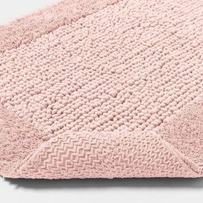 Textured Bath Rug Blush Pink