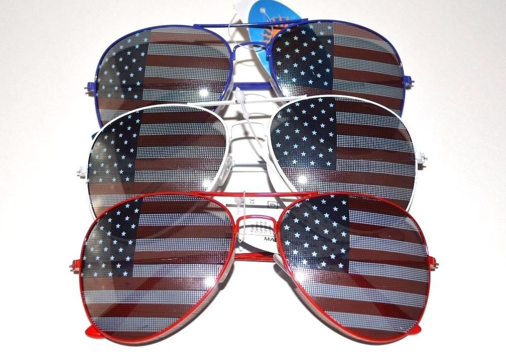 551c1784399 NWT American Flag Stars Stripes Red White Blue Frame Aviator Sunglasses   Unbranded  Aviator