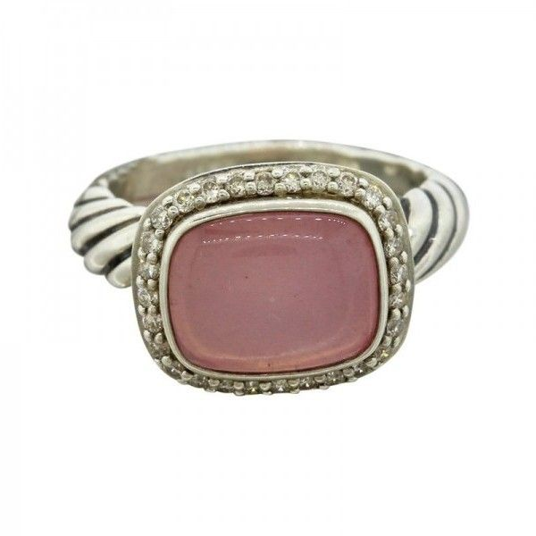 Pre-owned David Yurman Sterling Silver Rose Quartz Cabochon Ring (7.205.565 IDR) ❤ liked on Polyvore featuring jewelry, rings, sterling silver jewelry, rose quartz jewelry, sterling silver rings, pre owned jewelry and david yurman rings