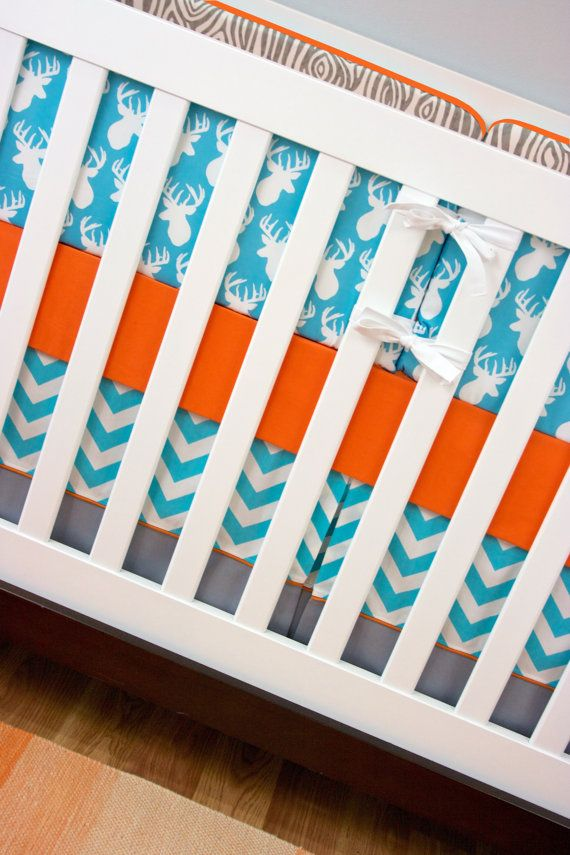 Deer Antler Buck Head Baby Bedding Crib Set Aqua By Modifiedtot