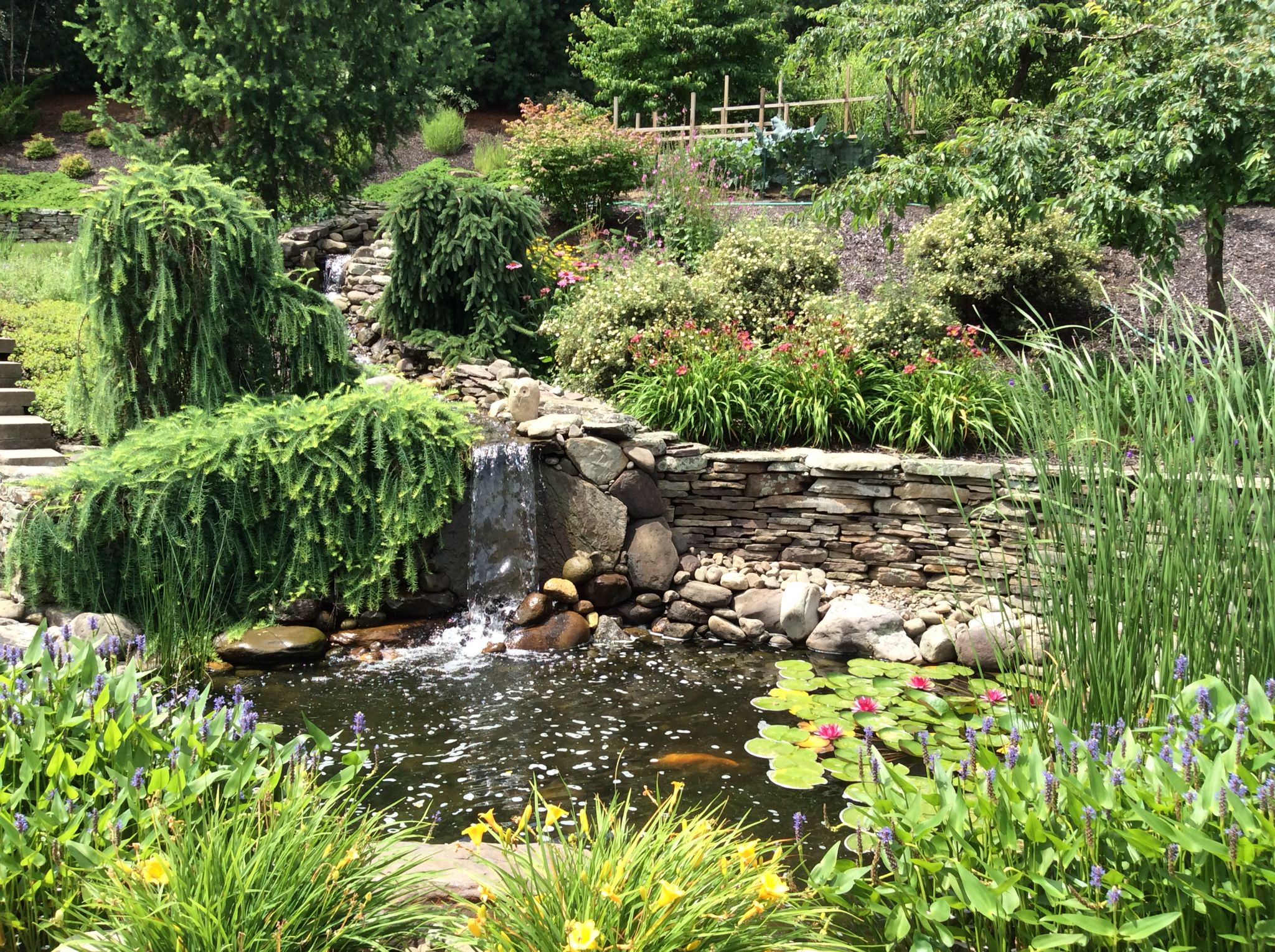 Pond Water Features, Pond Ideas, Ponds, Garden Landscaping, Waterfalls, Waterfall,