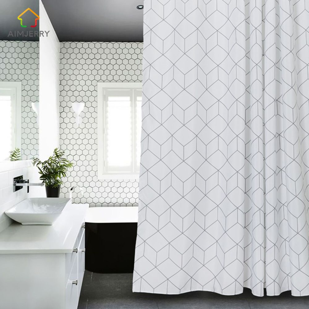 Aimjerry White And Grey Bathtub Bathroom Fabric Shower Curtain With 12 Hooks 71Wx71H High Quality Waterproof Mildewproof 041