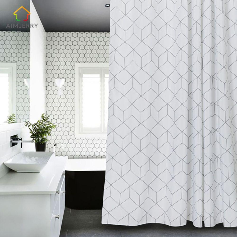 Aimjerry White and Grey Bathtub Bathroom Fabric Shower Curtain ...