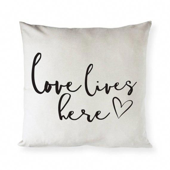 Love Lives Here Cotton Canvas Pillow Cover Pillowcase