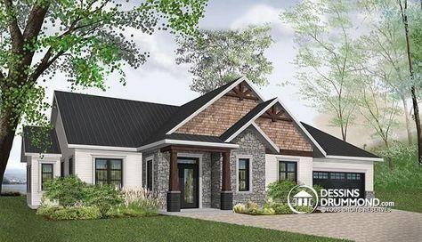 W3284-CJG1 - Plan de maison champêtre rustique, plafond 9u0027, 3