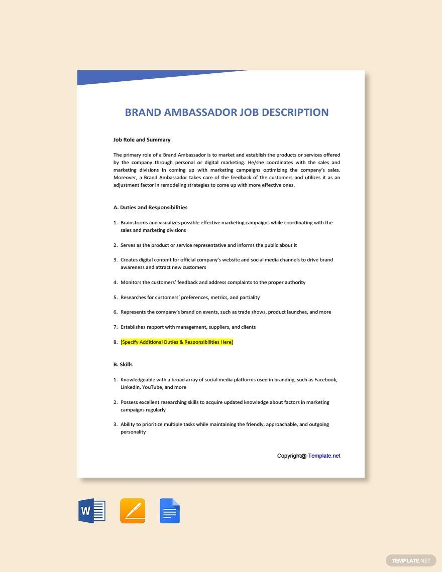 Free Brand Ambassador Job Description in 2020 Job