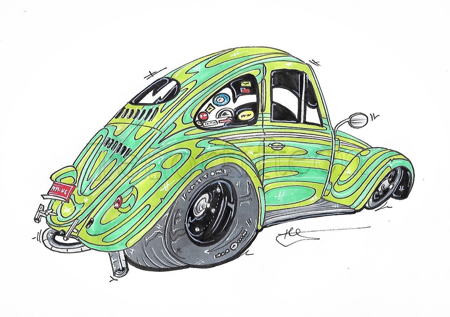 @fiftysixvw s #callook #ovalwindow #calbug #ovalbug #vwbeetle #volkswagen #beetle #bug as a #drawing #cardrawing inquire for pricing and commissions