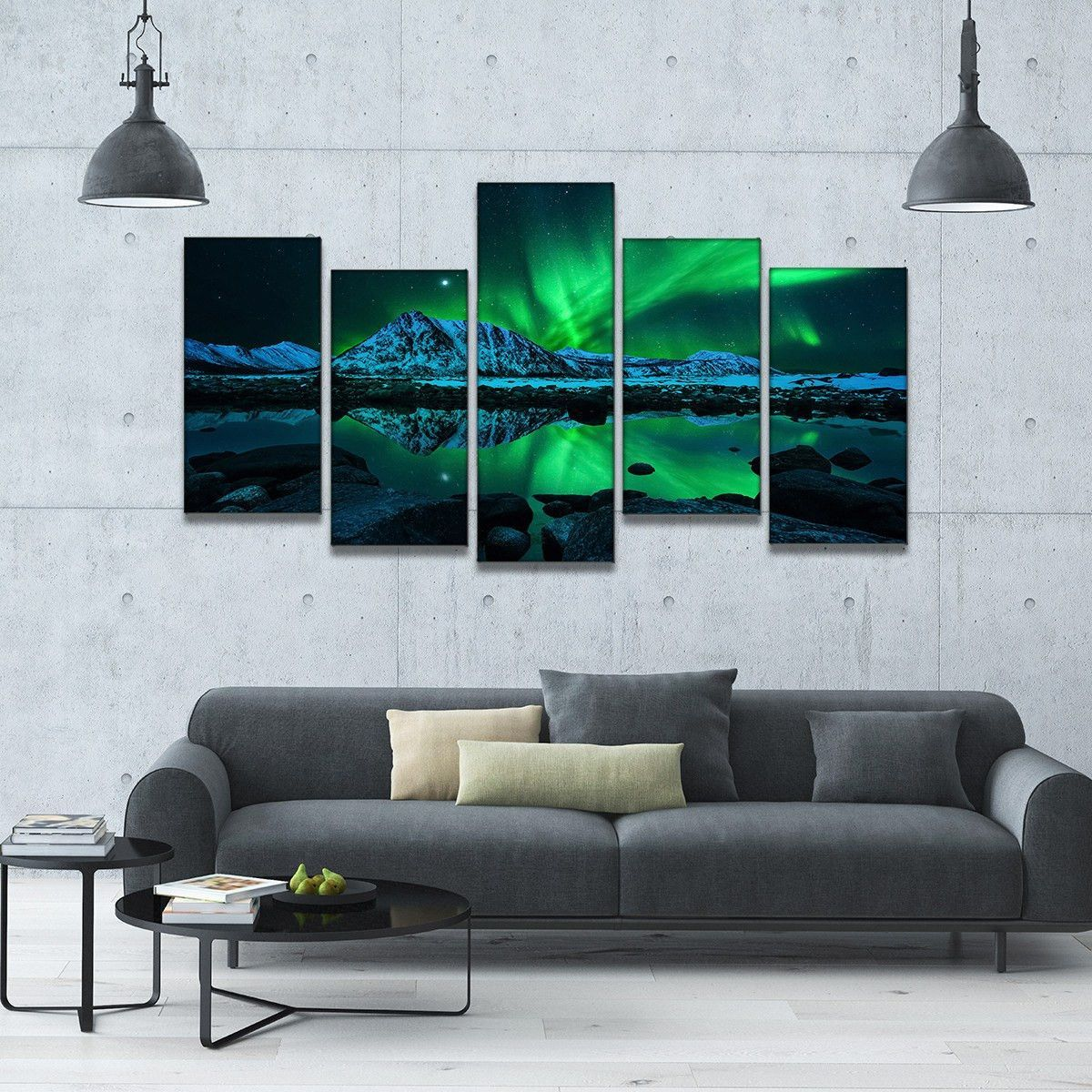 Futuristic Aurora 5 Piece Staggered Canvas Wall Art Artwork For Living Room Canvas Wall Art Landscape Artwork