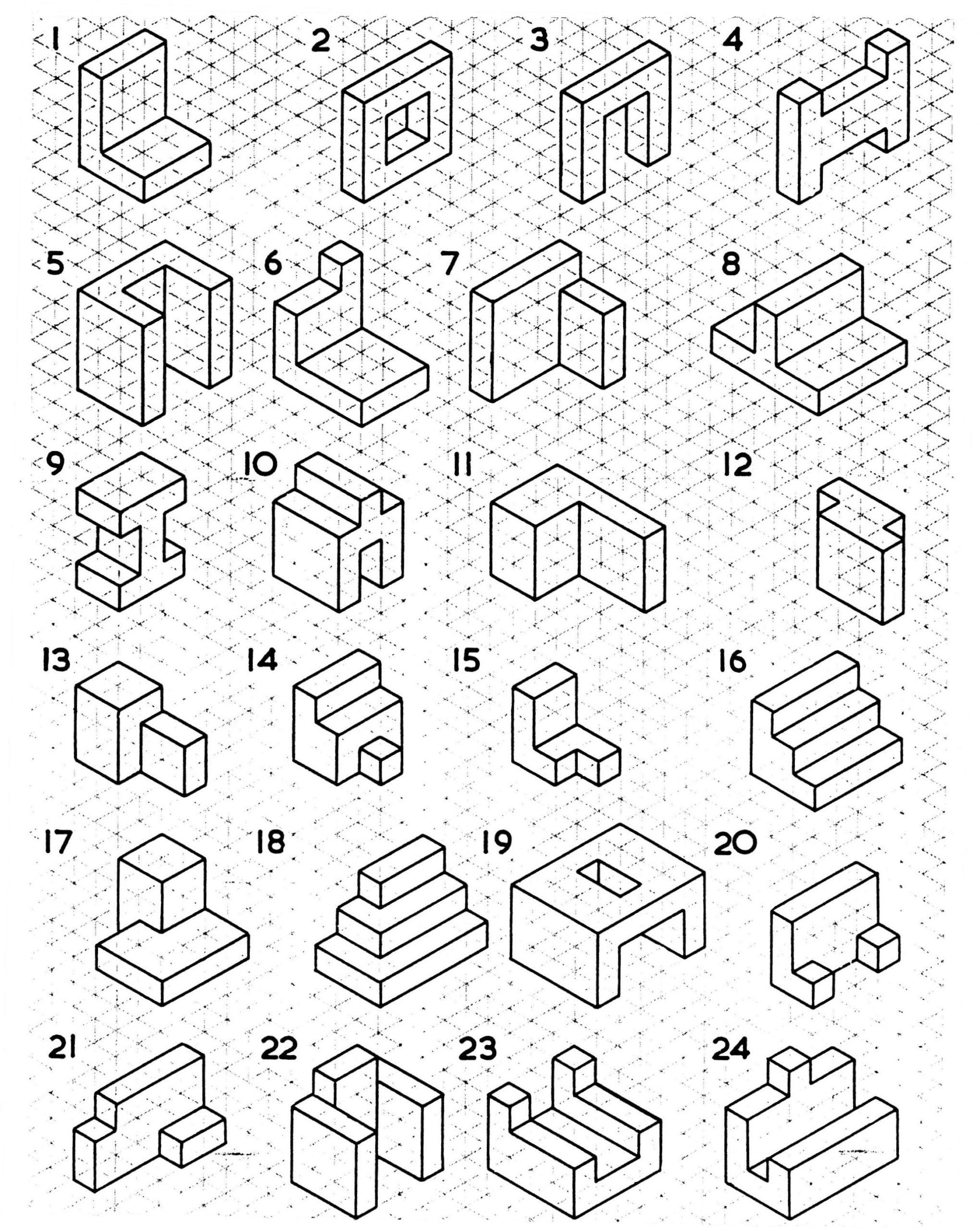 3d Shapes First Grade Worksheets Isometric Drawing