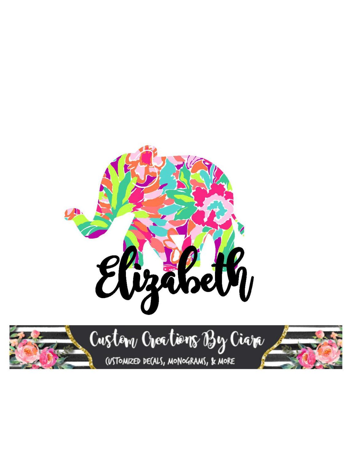 Elephant Name Lilly Decal Name Decal Monogram Elephant Decal - Custom vinyl decals monogram