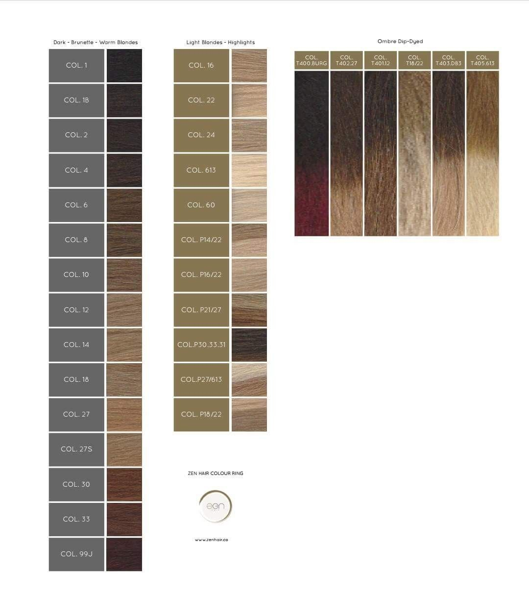 ZEN hair colors | ZEN Hair Extensions | Hair,