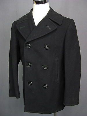 af5205865a9 Vintage U.S. Navy Wool Kersey Peacoat Pea Coat Mens Size 38R 38