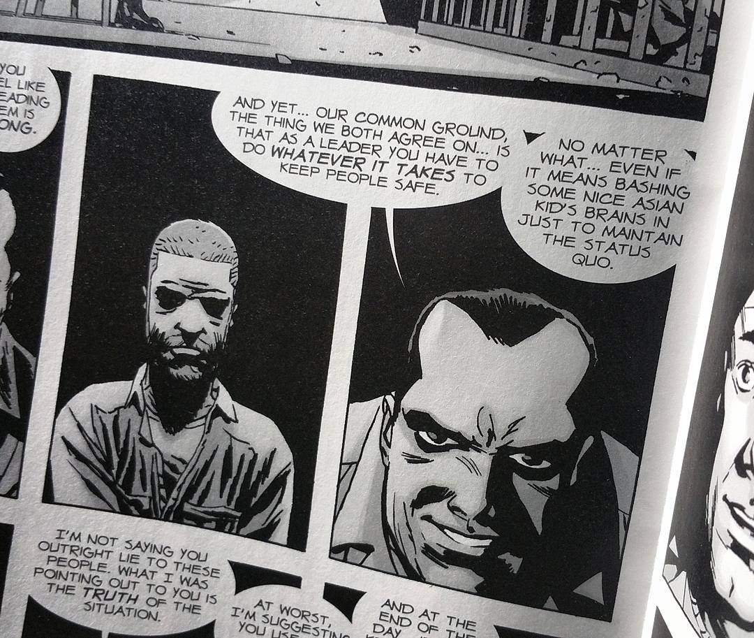 Hahaha Awww gave me a giggle....  It's gotta be Glen!  #thewalkingdead #Negan #issue149 #thedevilonyourshoulder by frysphotos