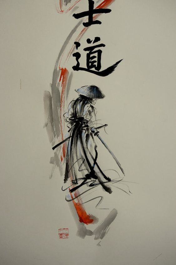 Bushido Way of the Samurai Modern Abstract Style Painting