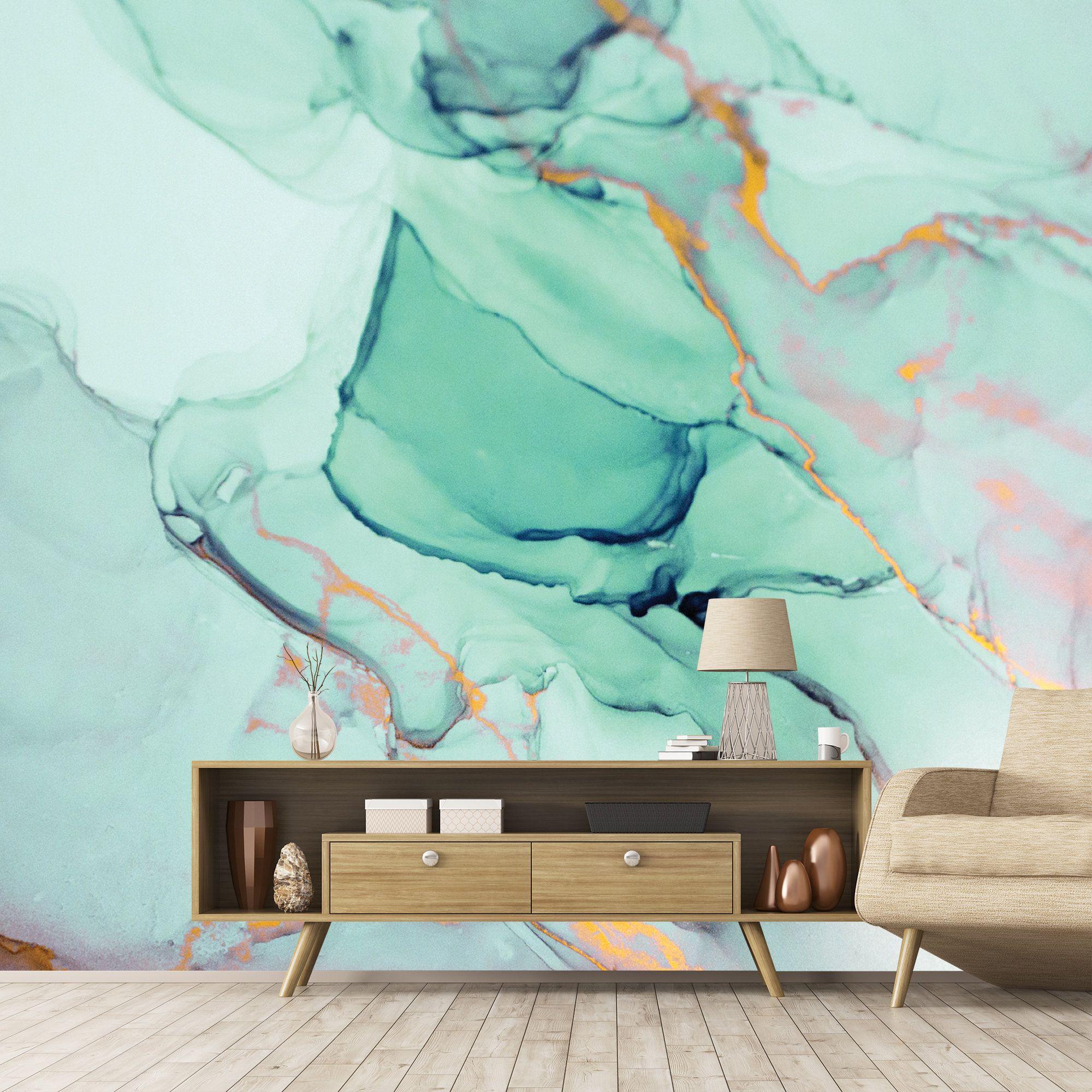 Green Marble Wallpapergreen Wallpaper Removable Marble Etsy Removable Wallpaper Wallpaper Walls Decor Custom Wallpaper