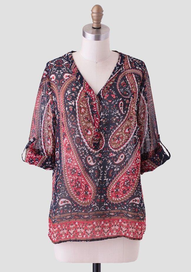Lost In Thought Printed Blouse