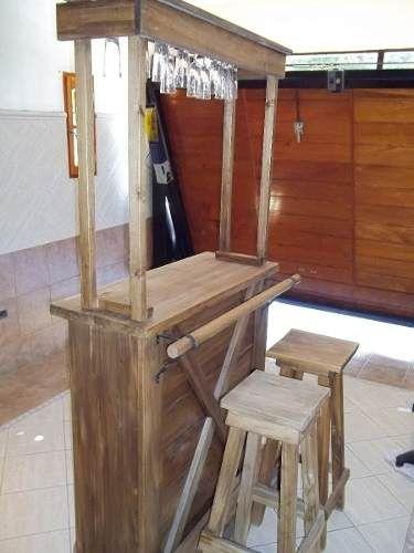 Barra bar copero mueble de madera rustica y bodega for Barra bar madera dibujo