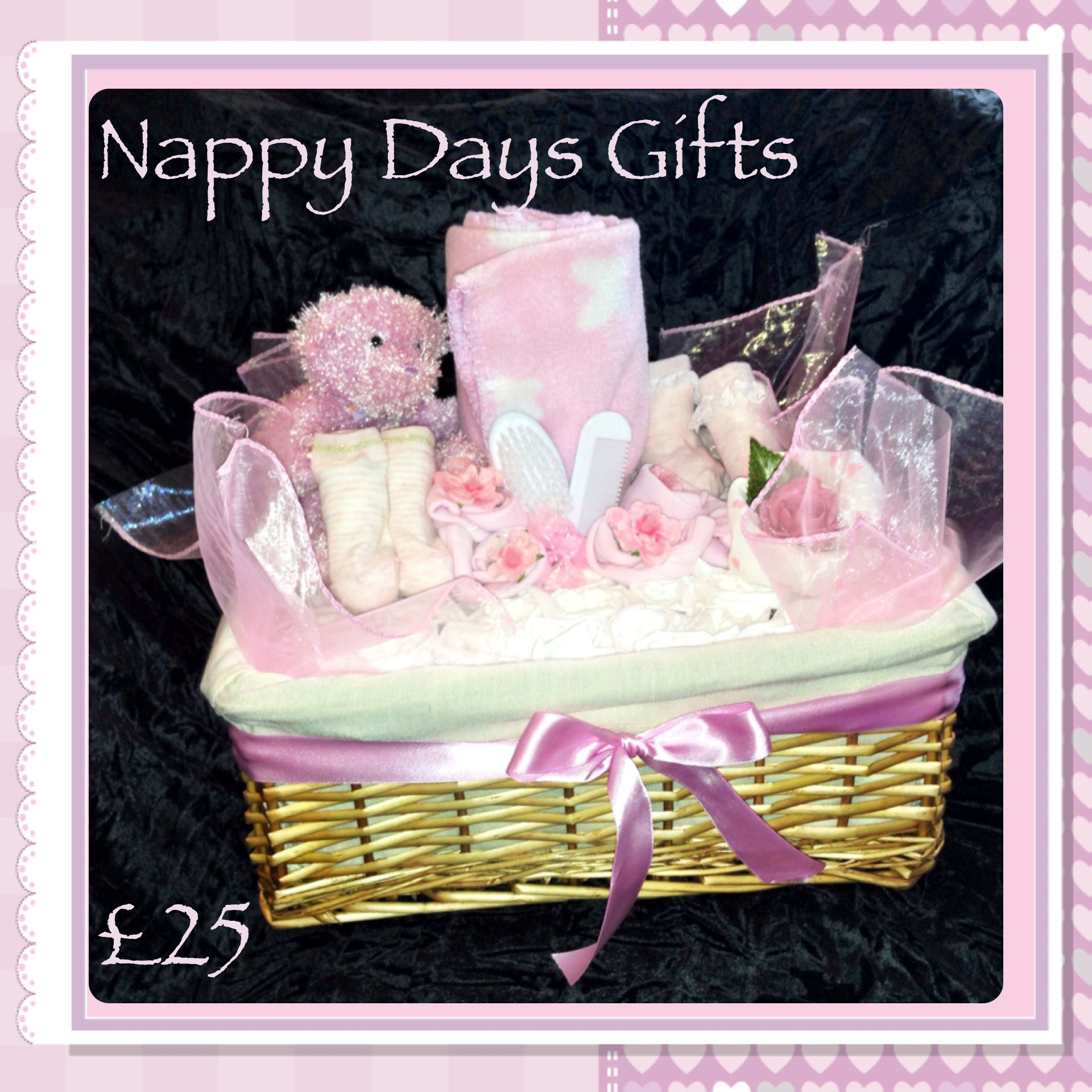 Nappy Hamper - £25  Includes soft fleece blanket, newborn nappies, 2 pairs of socks, brush and comb set, muslin square and vest roses and cute teddy.  Also available in blue or neutral colours