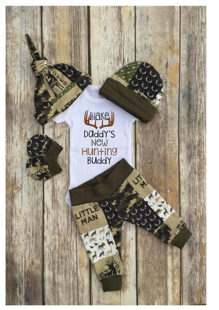 Boys Coming Home Outfit Newborn Hunting Outfit Newborn Boy Antler Set Antler Baby Gown Little Man Outfit Monogram Boy Deer Outfit
