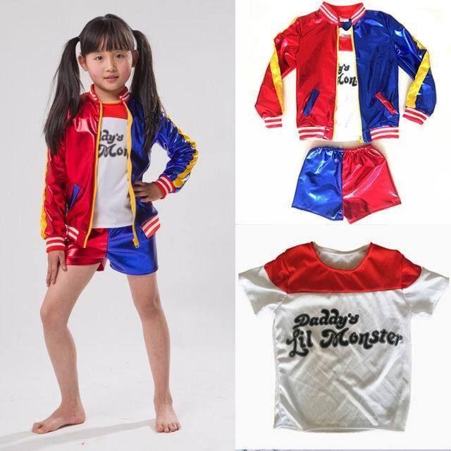 Amazing Kids Girls Suicide Squad Harley Quinn Coat Shorts Top Set Halloween Cos  Costume