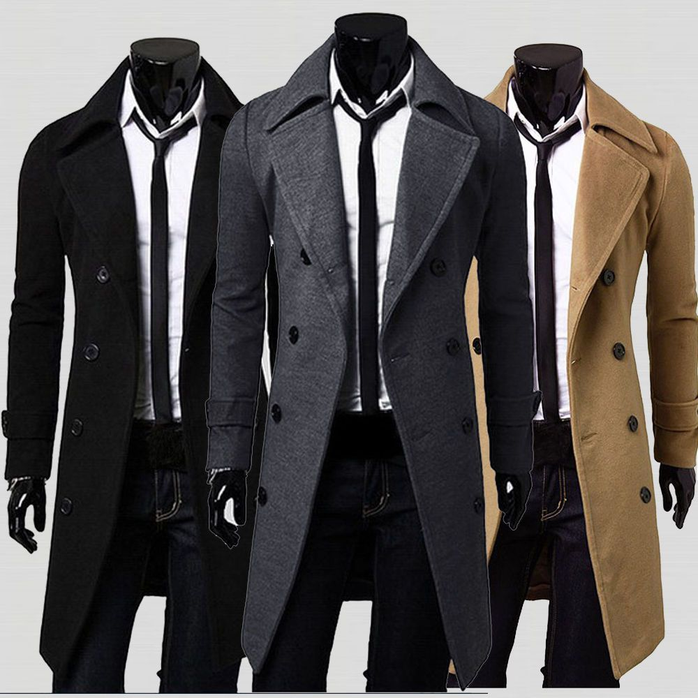 2017 Winter Mens Slim Stylish Trench Coat Thick Double Breasted ...