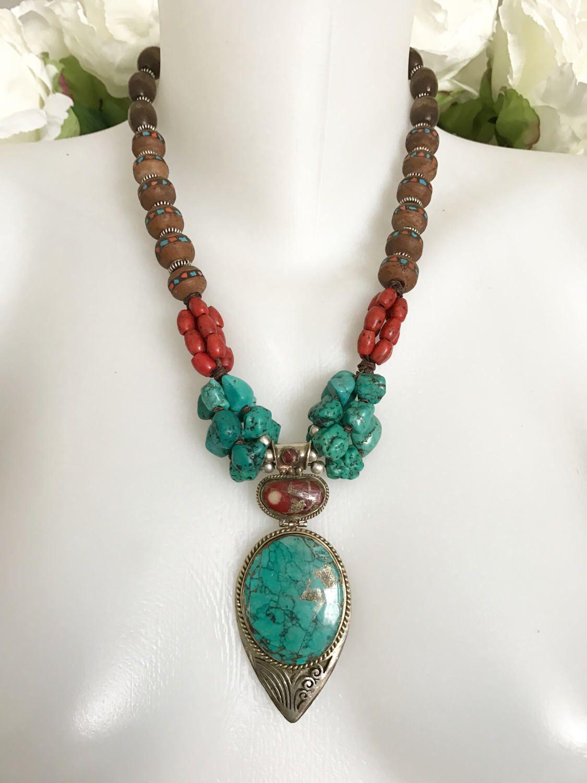 Pendant necklace tibetan necklace statement necklace turquoise pendant necklace tibetan necklace statement necklace turquoise necklace coral necklace aloadofball Images