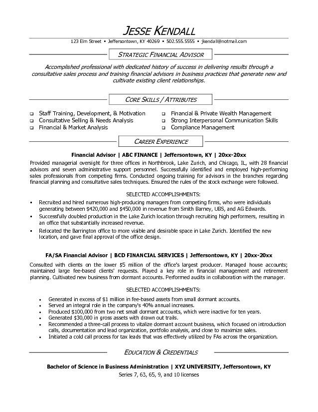 Financial Advisor Resume Sample Resumesdesign Resume Skills Project Manager Resume Resume Examples