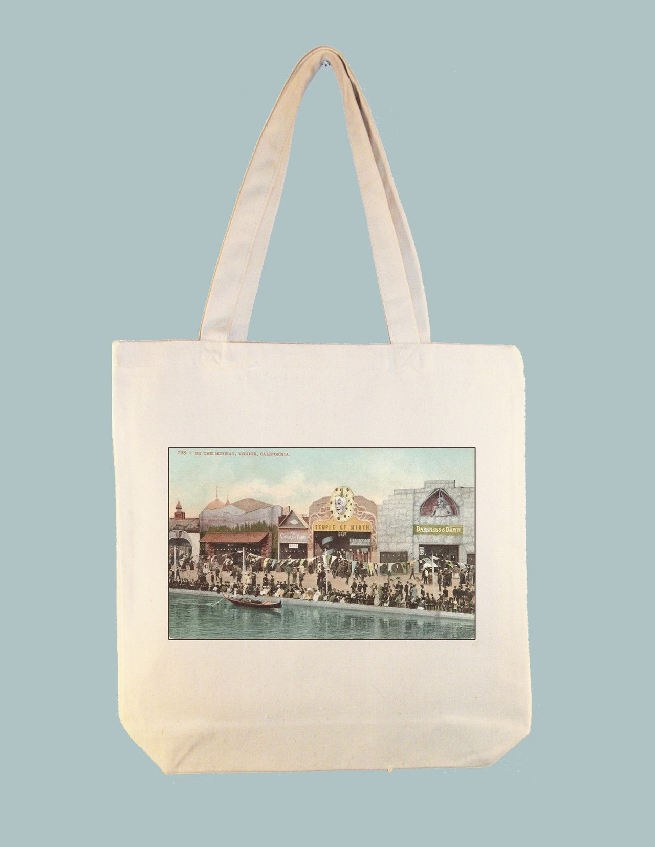 Venice, California Vintage Boardwalk Midway Postcard 15x15 Canvas Tote -- larger tote style available