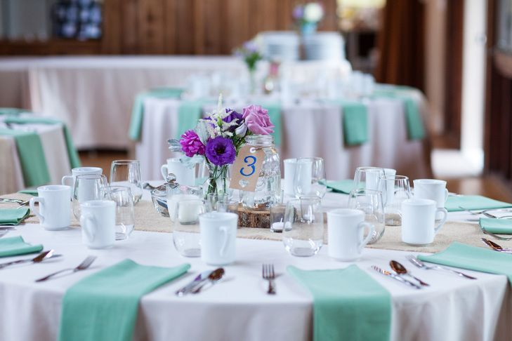 Bright Purple And Mint Reception Tables