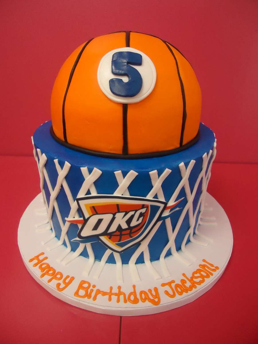 OKC Thunder Themed Birthday Cake Bakedinmoore