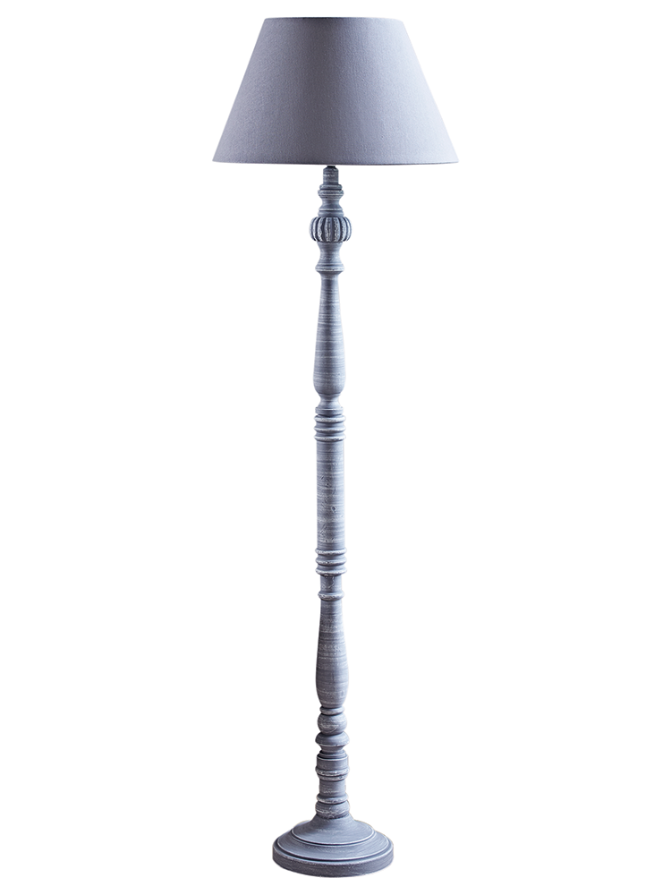 NEW Elegant Grey Wood Floor Lamp