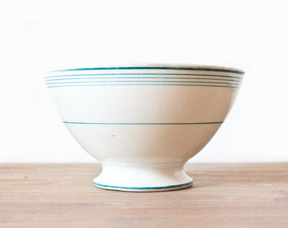 French vintage Café au lait bowl - White with fine turquoise stripes bowl - Shabby chic - Rustic french country (18)