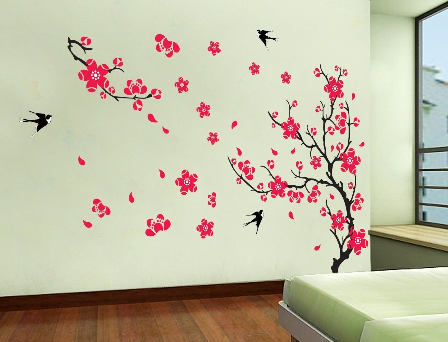yyone plum blossom red flowers tree branch swallows art wall mural home decor wall sticker. Black Bedroom Furniture Sets. Home Design Ideas