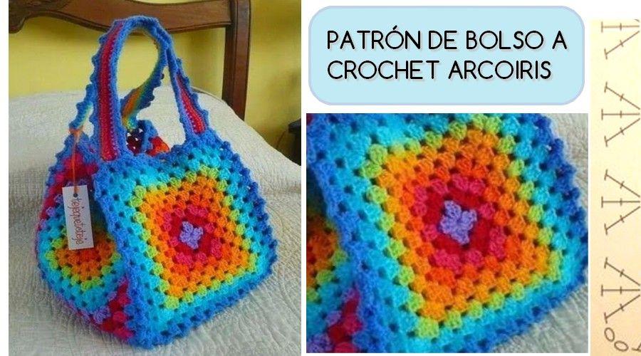 PATRÓN DE BOLSO A CROCHET ARCOIRIS | tejido | Pinterest | Patrones ...