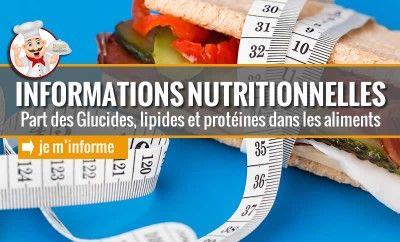 Informations Nutritionnelles : composition des aliments Recettes pour diabétiques et bien être