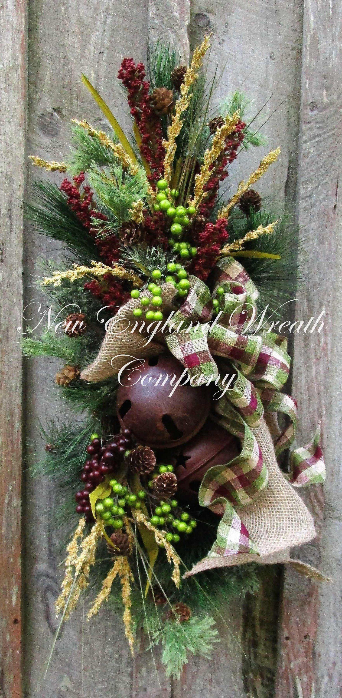 Sleigh Bell Swag Farmhouse Christmas Swag Rustic Holiday Wreath
