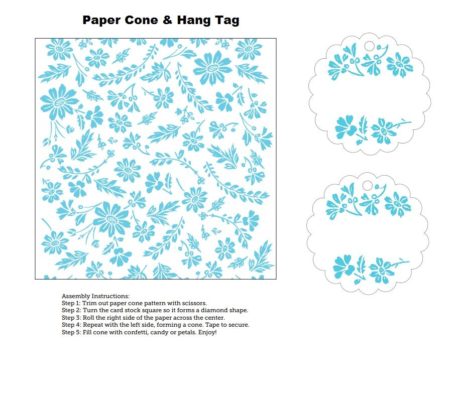 Cone Template  Matching Hang Tag  Party Hat    Hang